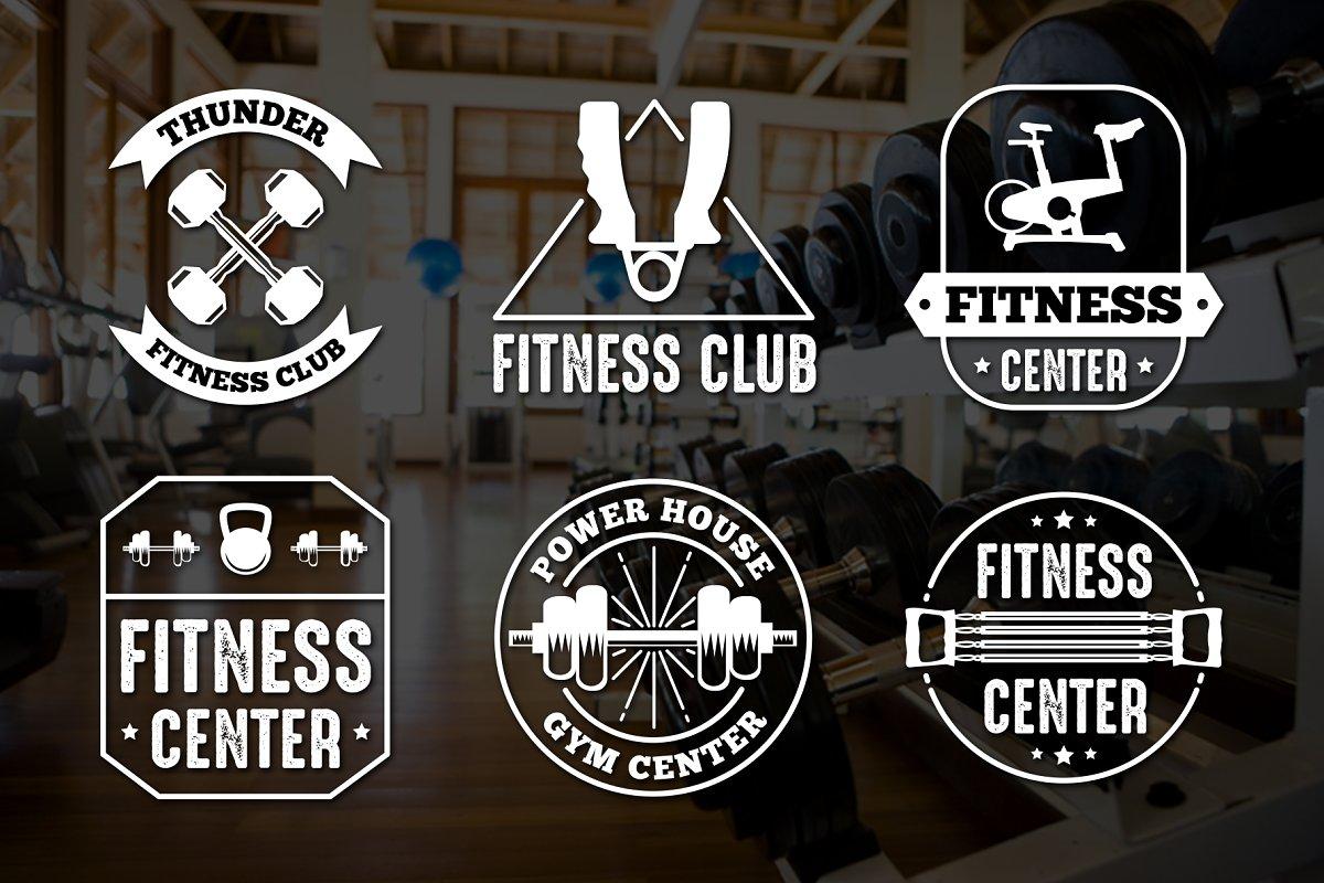 Fitness Logos: Fitness Vintage Badge & Logo - preview cm