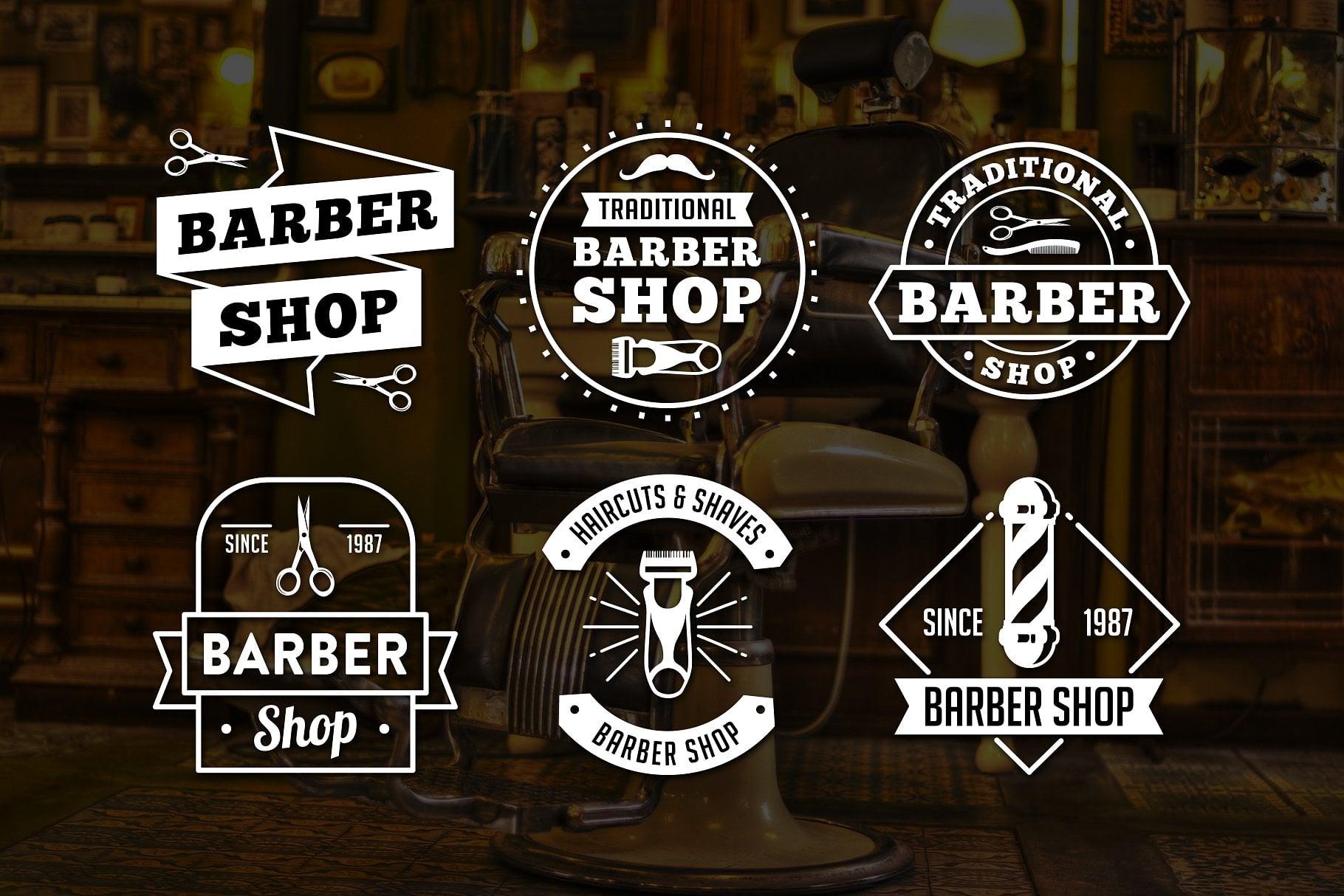 Vintage Barber Shop Logo PNG & EPS - previewcm