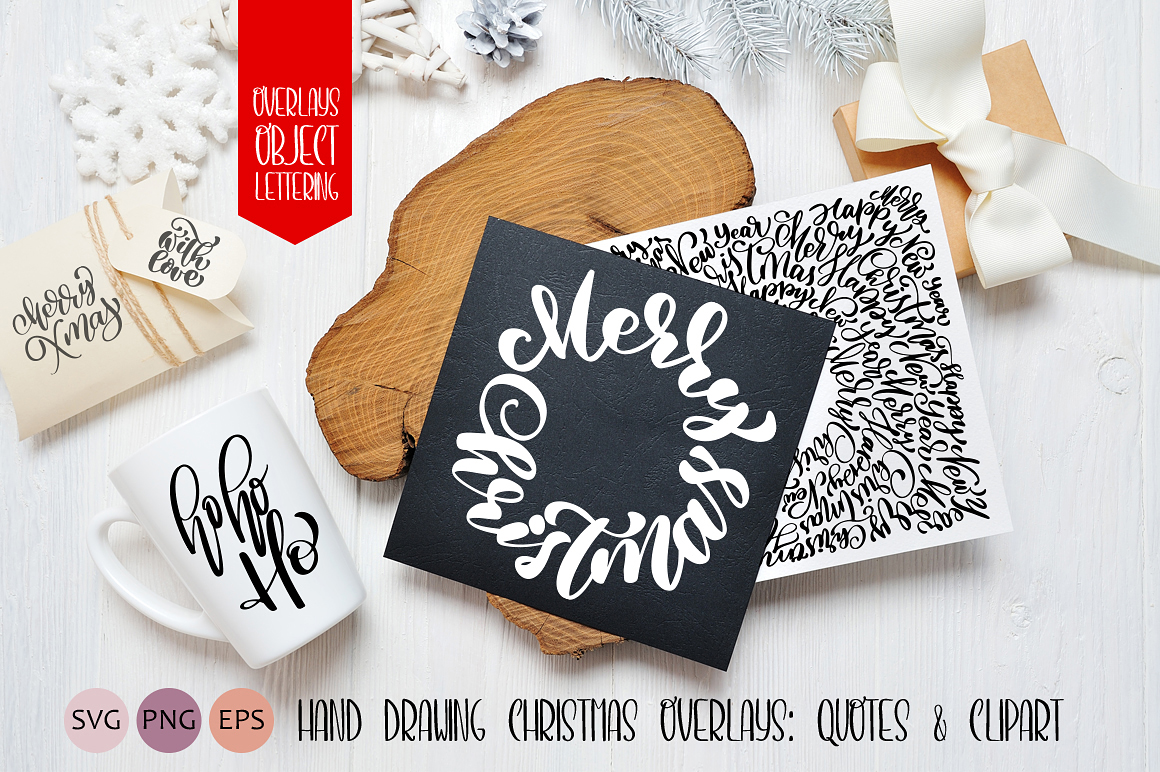 Hand Drawing Merry Christmas Lettering and Doodle Elements - title 01
