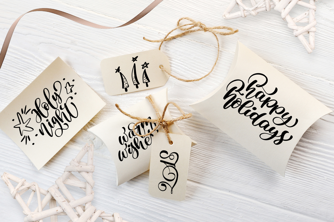 Hand Drawing Merry Christmas Lettering and Doodle Elements - title 05