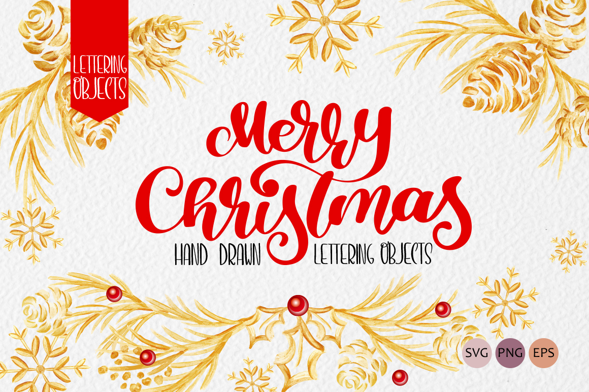 Merry Christmas Lettering: Christmas Draw Lettering Objects - title 1 4