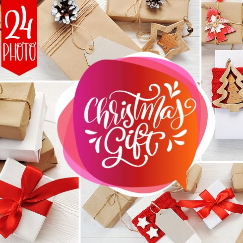Christmas Cover Photo: 24 Christmas Gift Mock Up files - title 1 7 490x490