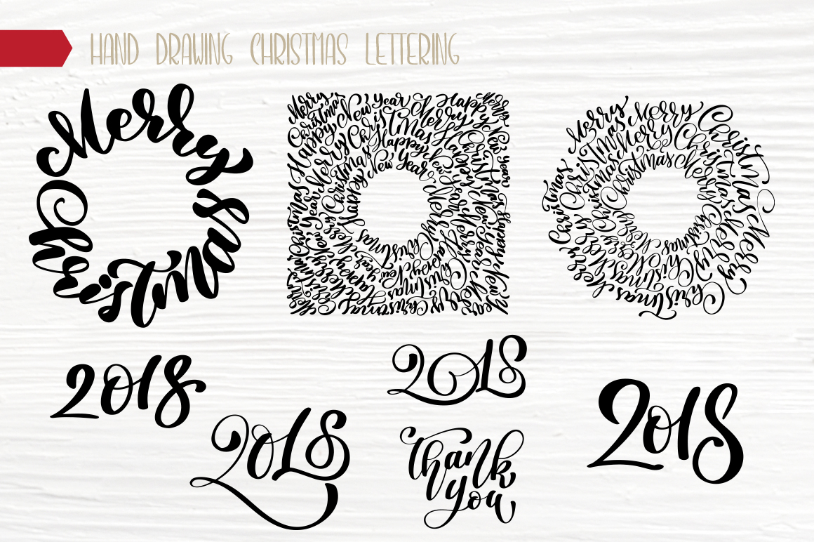 Hand Drawing Merry Christmas Lettering and Doodle Elements - title 11