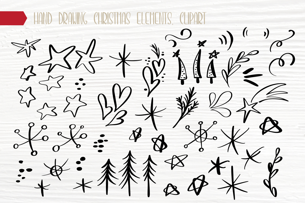 Hand Drawing Merry Christmas Lettering and Doodle Elements - title 13