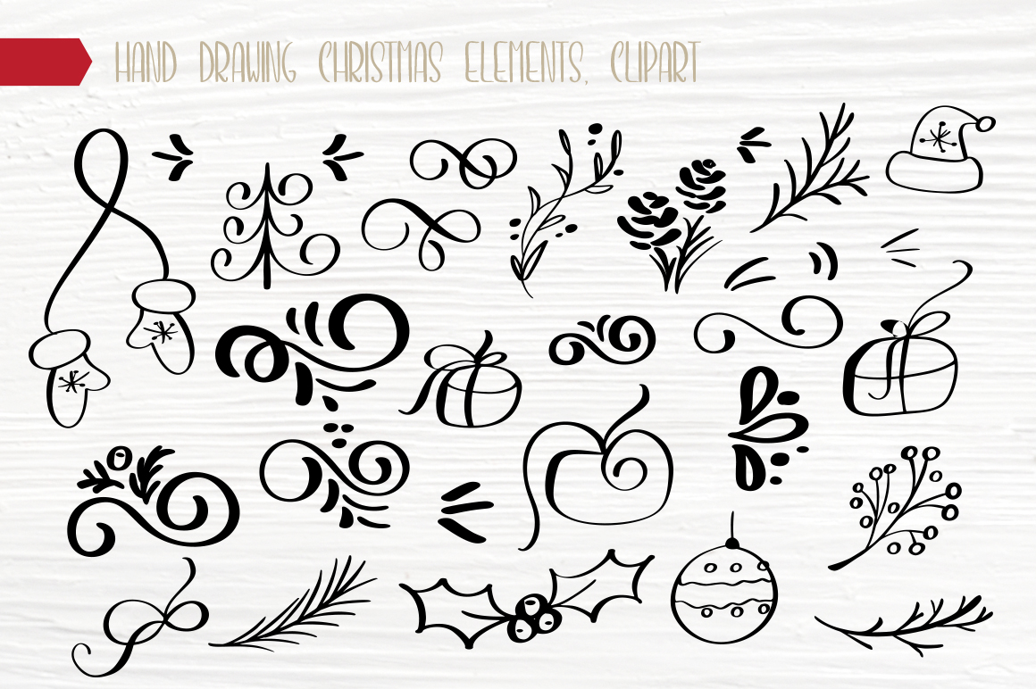 Hand Drawing Merry Christmas Lettering and Doodle Elements - title 14