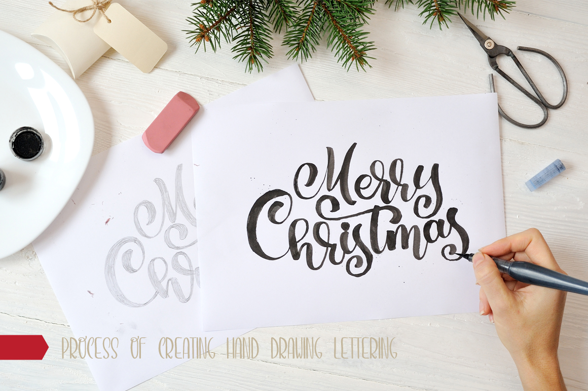 Hand Drawing Merry Christmas Lettering and Doodle Elements - title 15