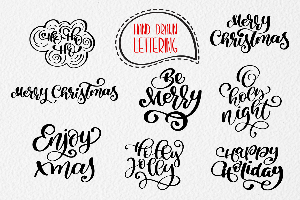 Merry Christmas Lettering: Christmas Draw Lettering Objects - title 6 1
