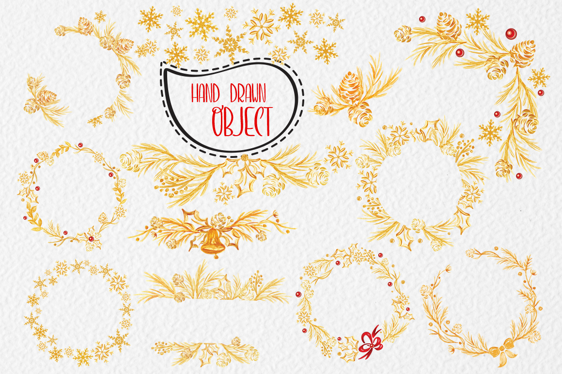 Merry Christmas Lettering: Christmas Draw Lettering Objects - title 8