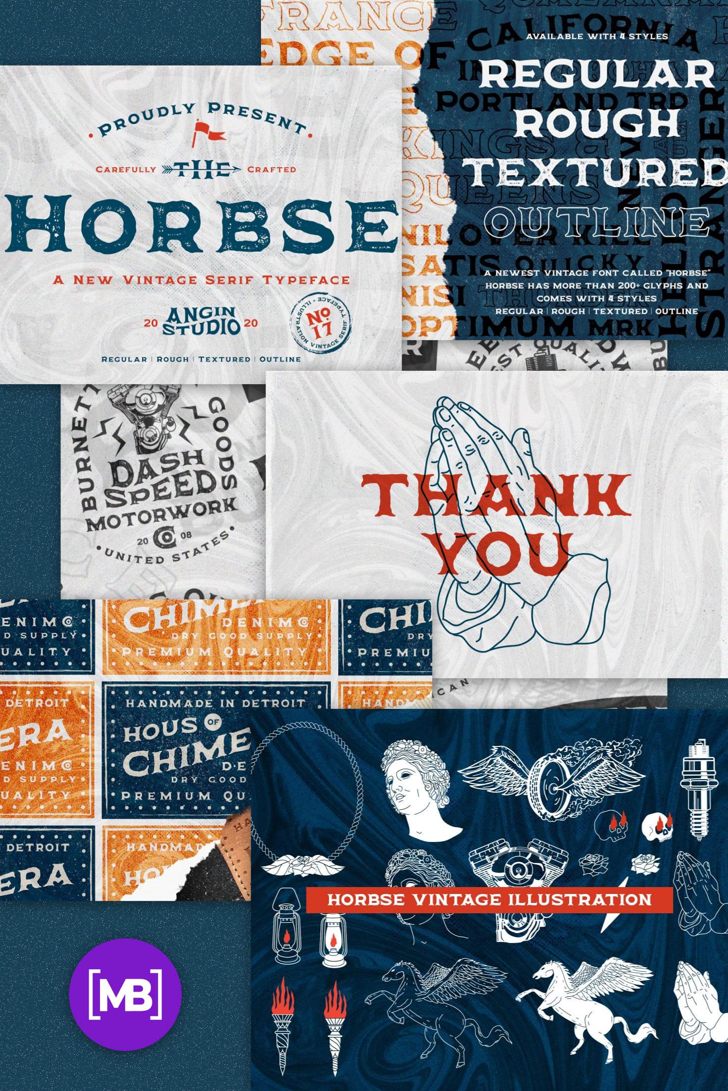 Pinterest Image: Horbse Vintage Serif Font.