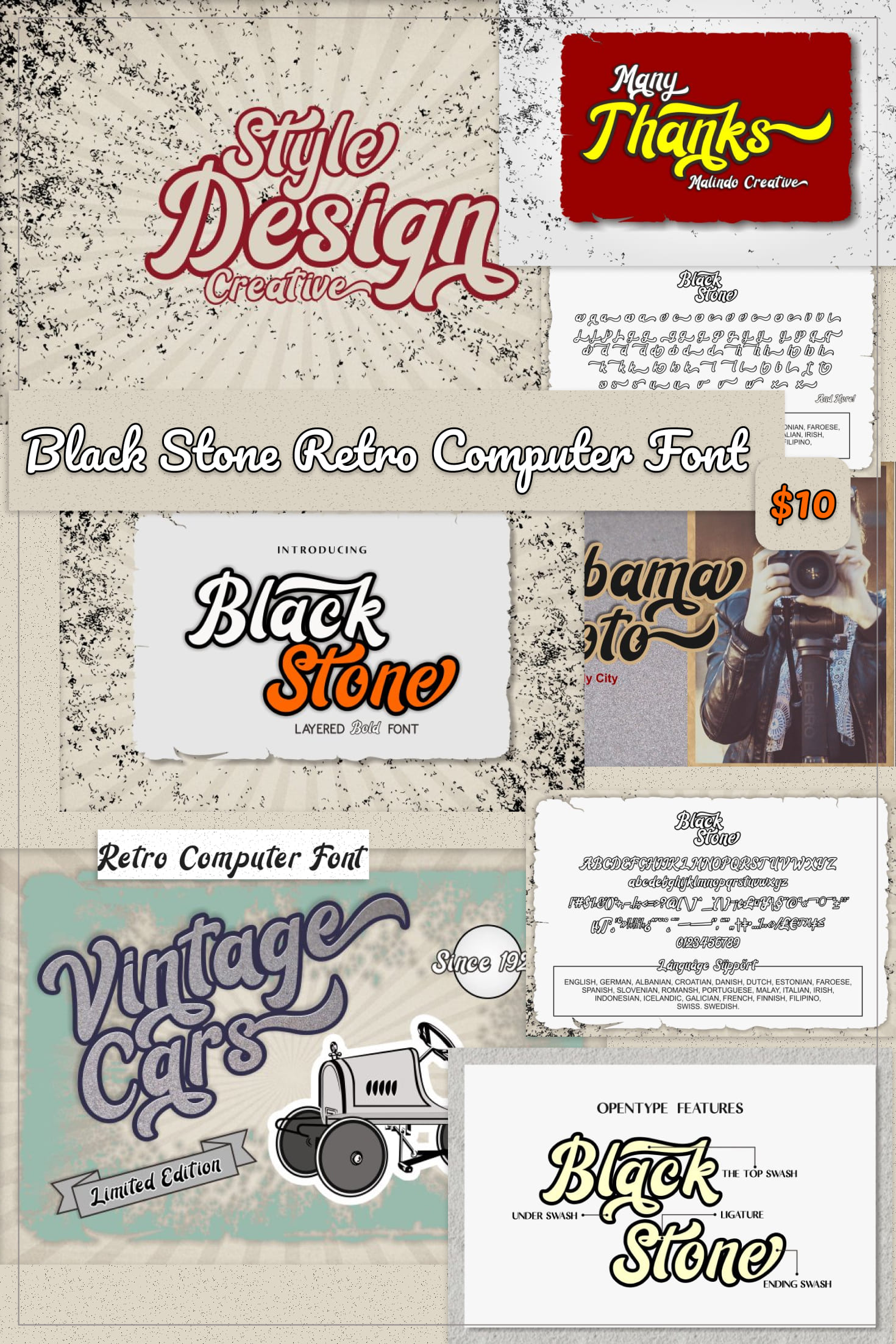 Pinterest Image: Black Stone Retro Computer Font.