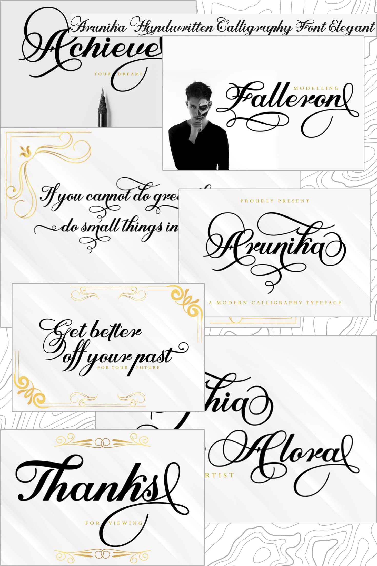 Pinterest Image: Arunika Handwritten Calligraphy Font Elegant.