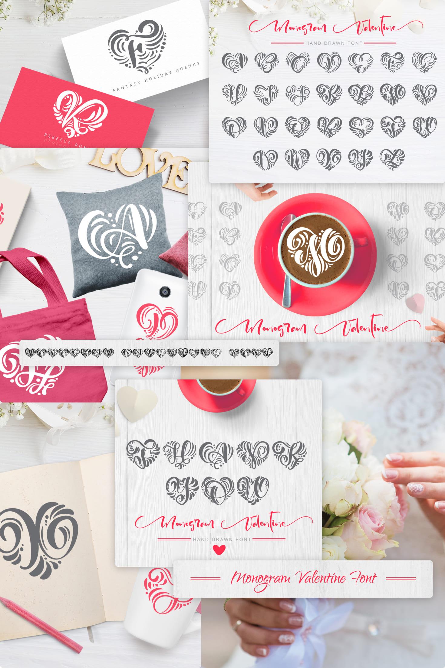 Pinterest Image: Monogram Valentine Font.