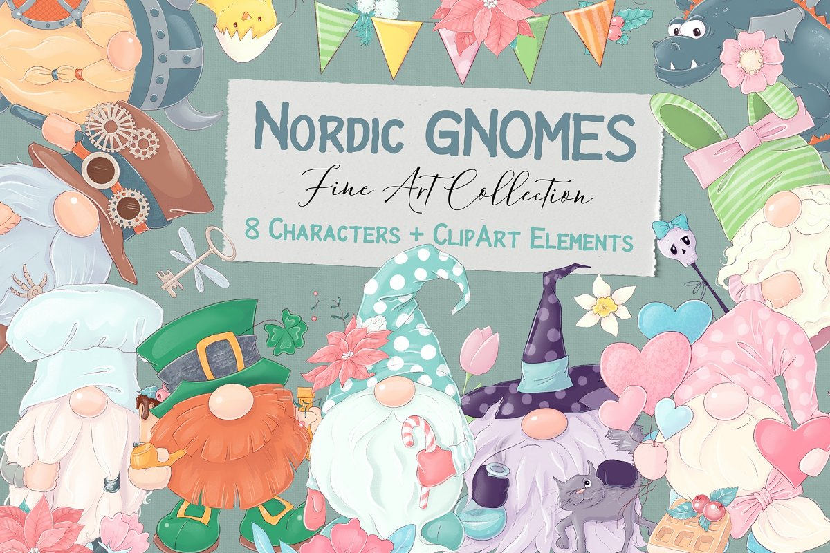 8 Nordic Gnome Characters PNG - 1 1 7