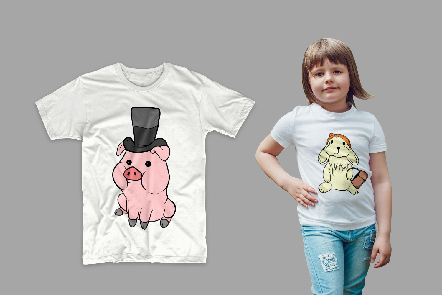 White T-shirts with a piglet and a fashionable rabbit.