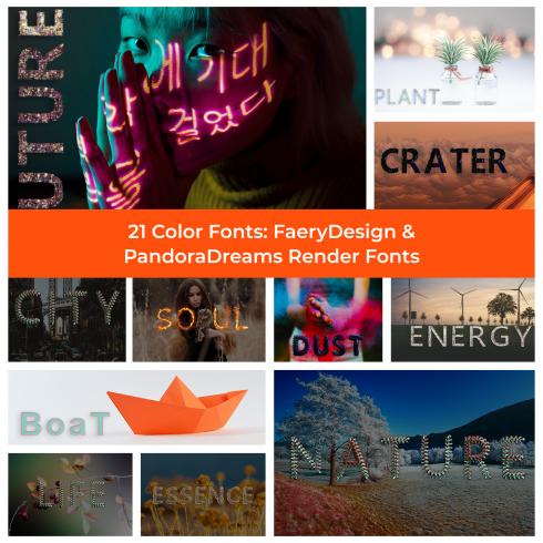 21 Color Fonts: FaeryDesign & PandoraDreams Render Fonts - 1 21 color fonts faerydesign pandoradreams render fonts 1 490x490