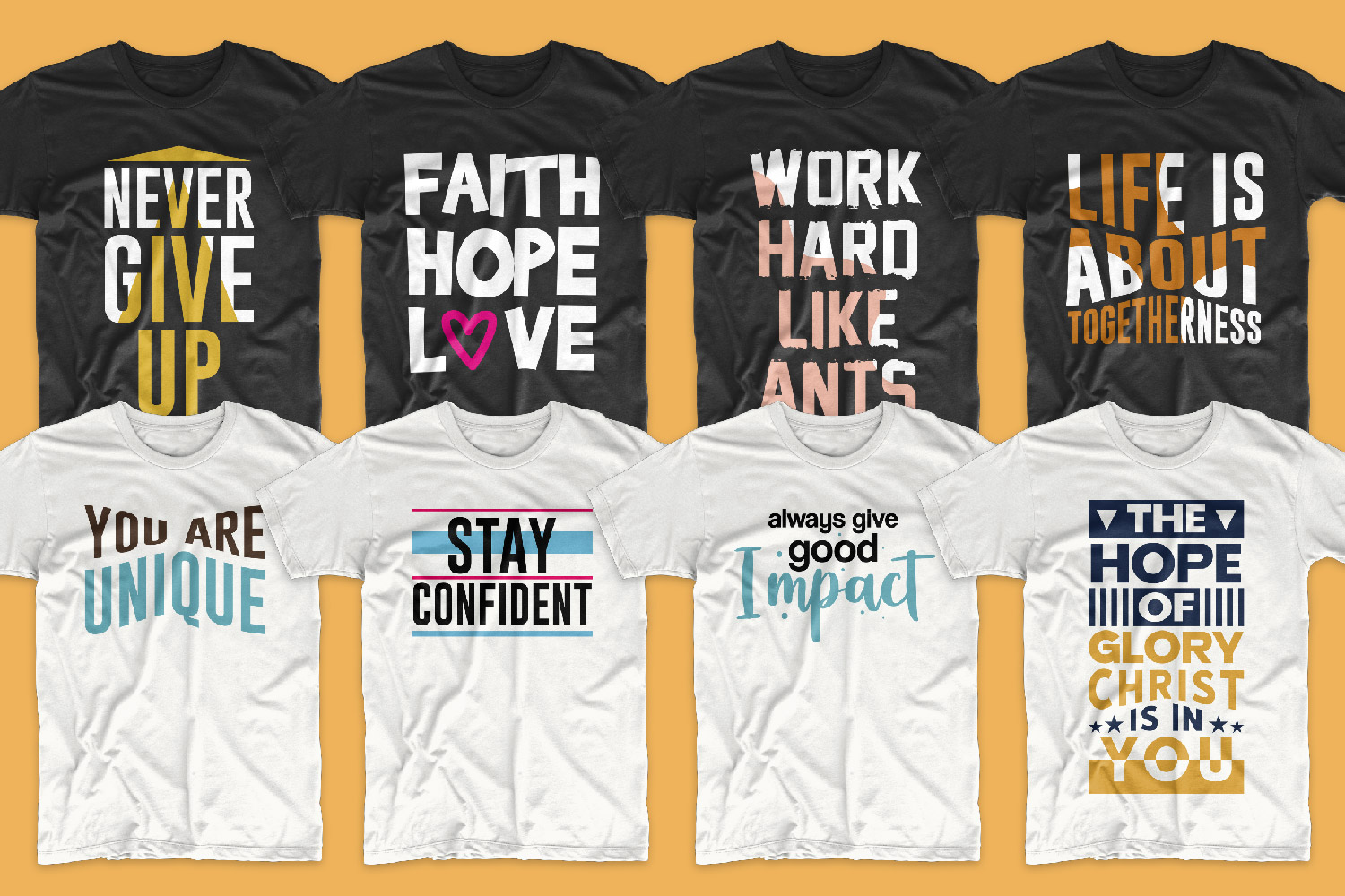 This set contains only black and white T-shirts with different colored lettering.