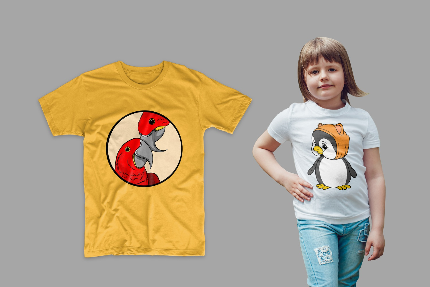 The T-shirt is yellow with two parrots and white with a penguin.