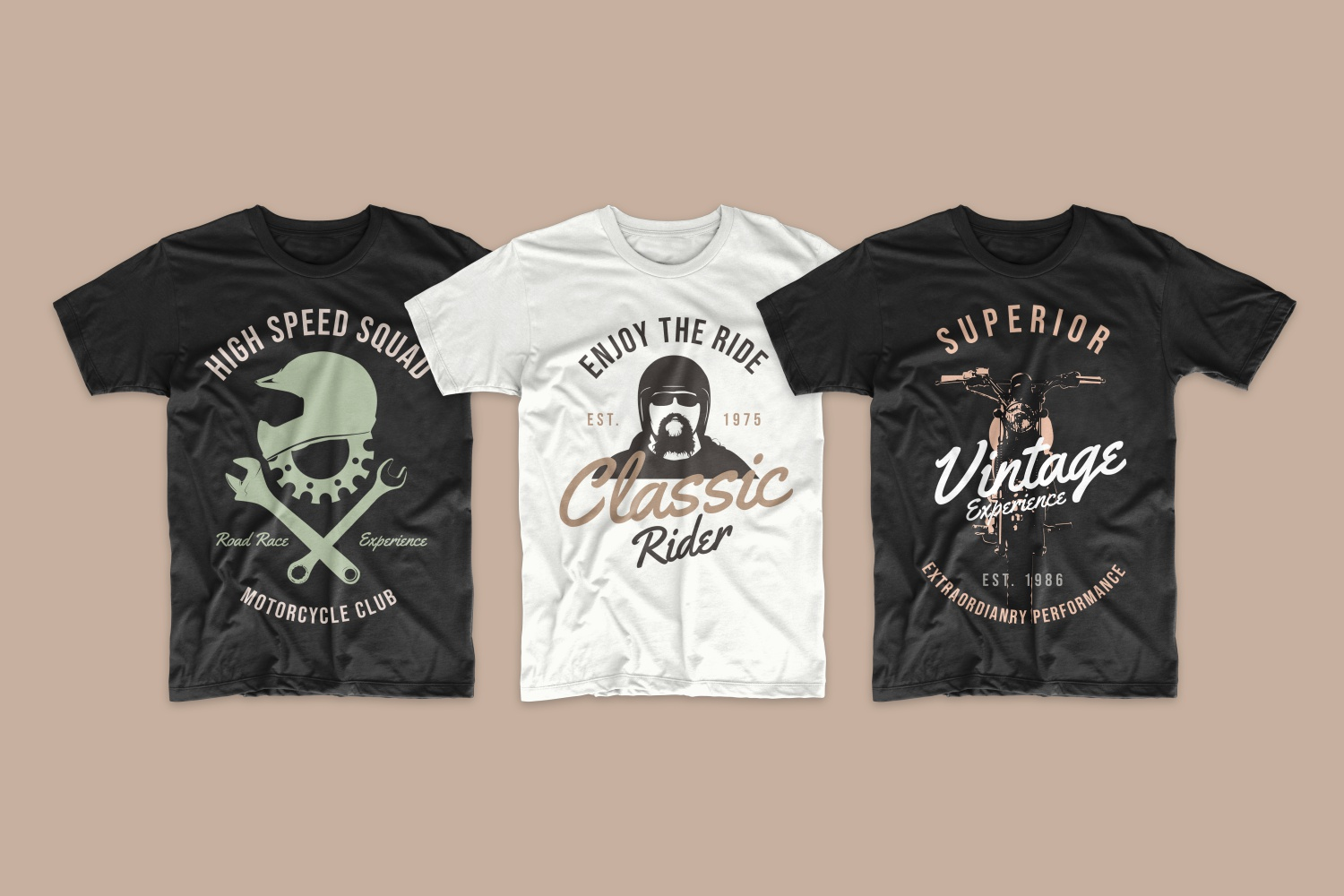 Vintage style T-shirts featuring a bearded motorcycle rider.