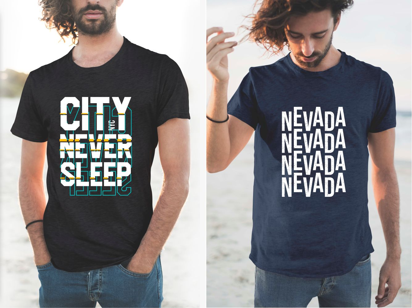 Black and blue T-shirts with Nevada and the city never sleeps.