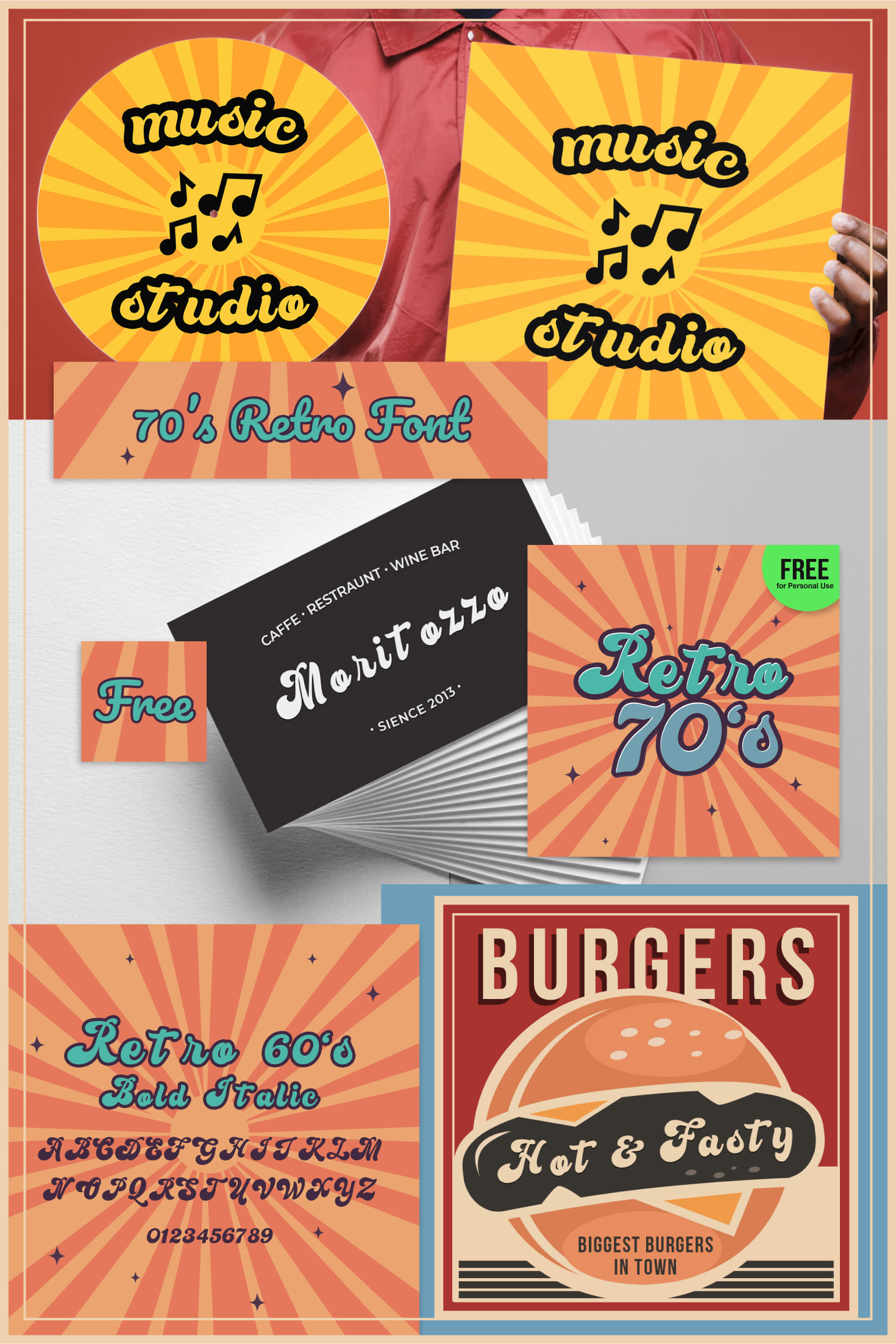 Pinterest Image: Free 70's Retro Font | Personal Use Only.