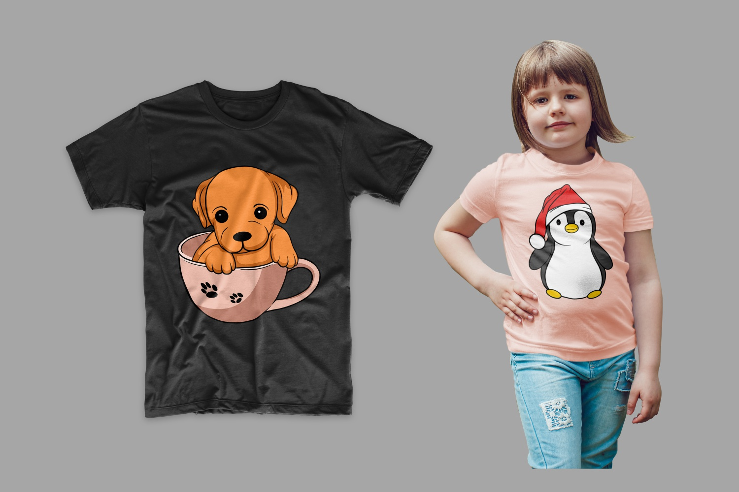 T-shirt black with a puppy in a cup and pink with a Christmas penguin.