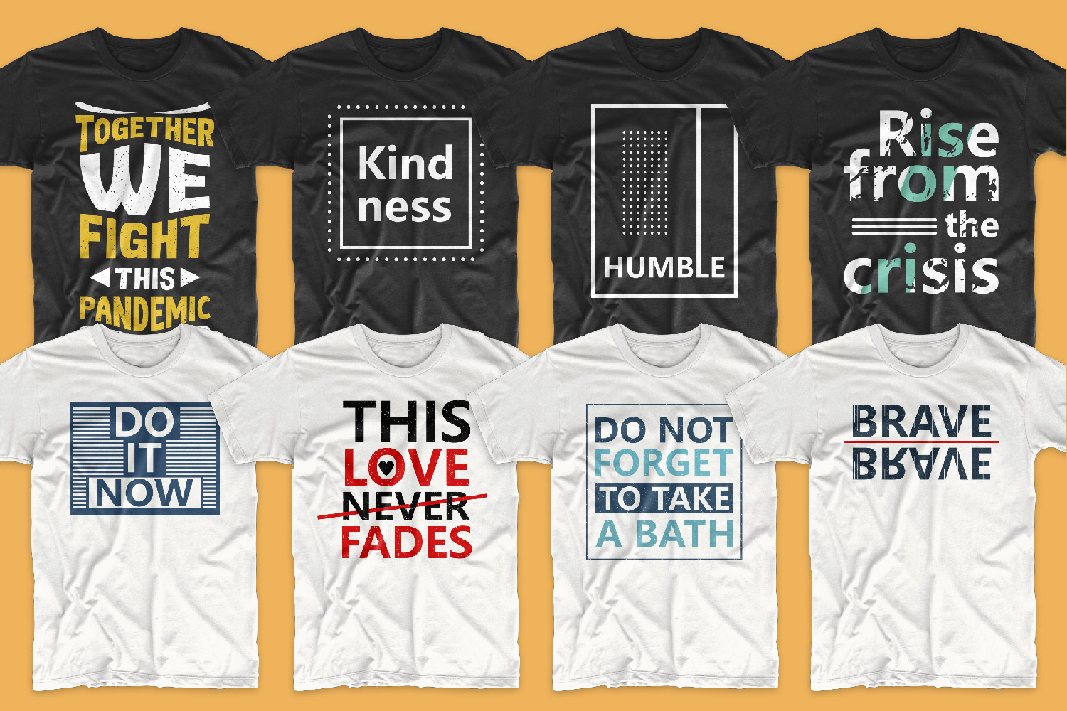A collection of white and black T-shirts with motivational phrases.