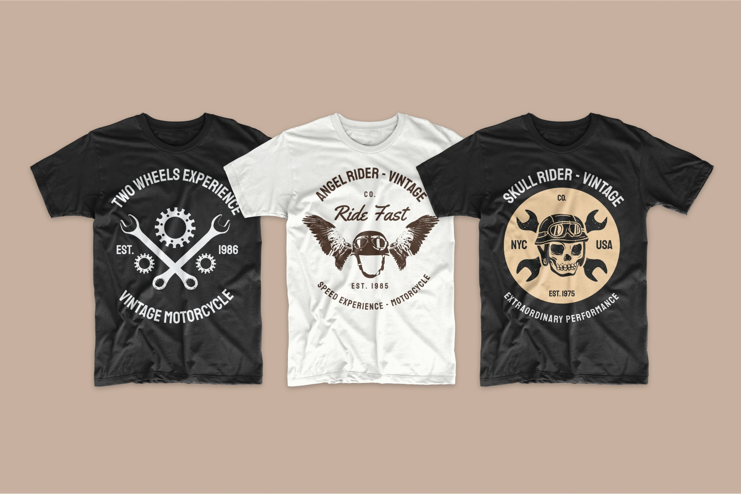 T-shirts in classic colors - white and black with a skull and a helmet with wings.