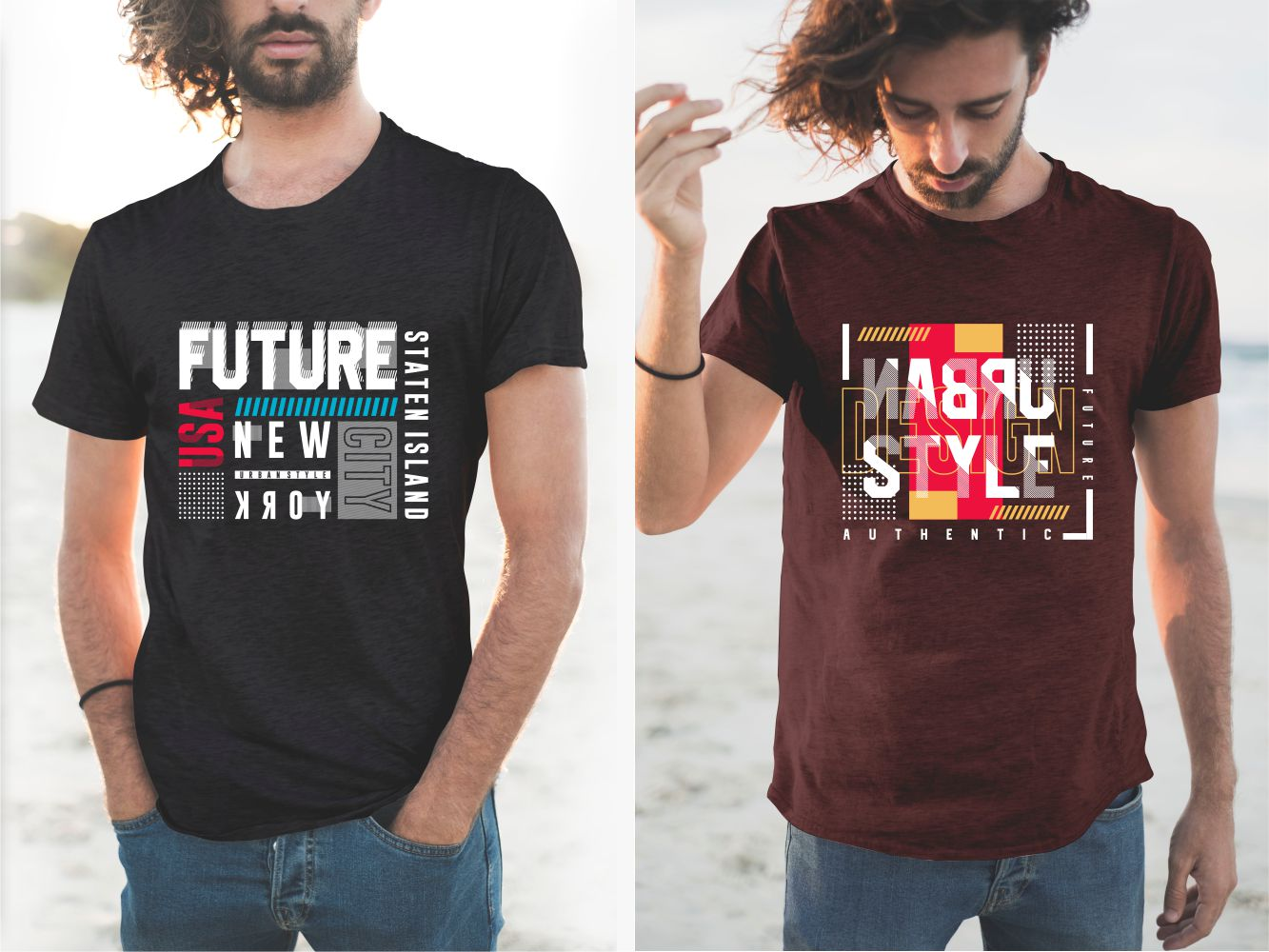 Black and burgundy T-shirts with geometric patterns and futuristic designs.