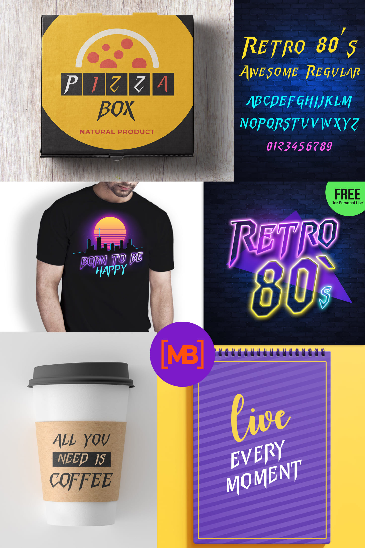 Pinterest Image: 80's Retro Font   Free for Personal Use.