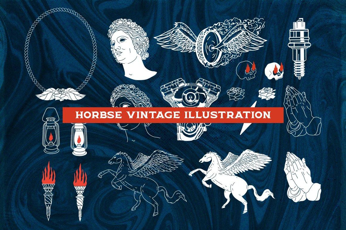 Horbse Vintage Serif Font ( with Illustration ) - 12