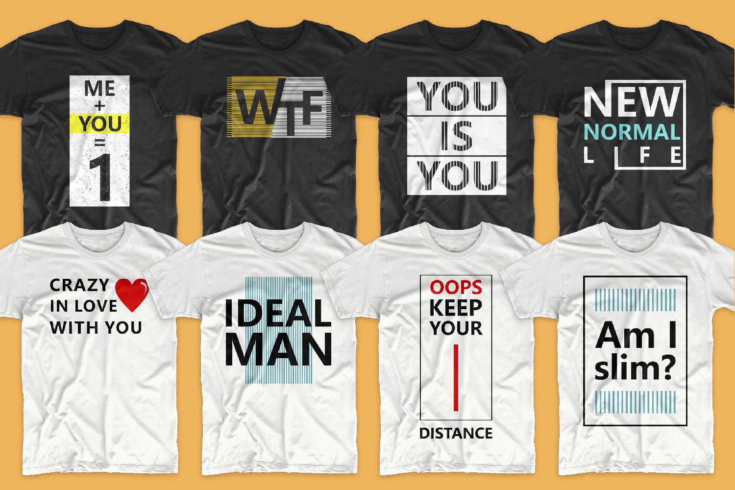 Classic white and black T-shirts with a round neck and such bright and concise phrases.