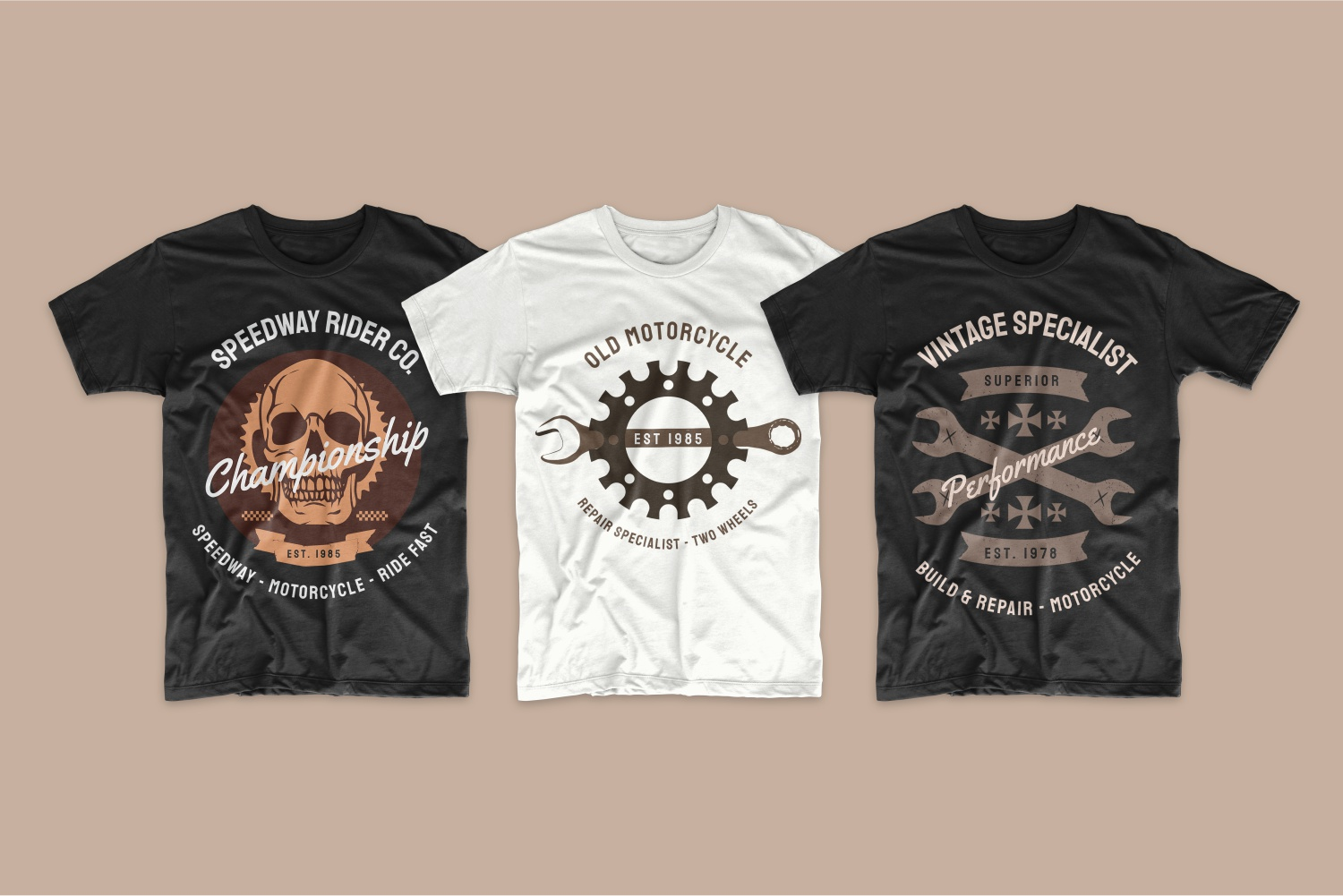 T-shirts featuring motorcycle elements.