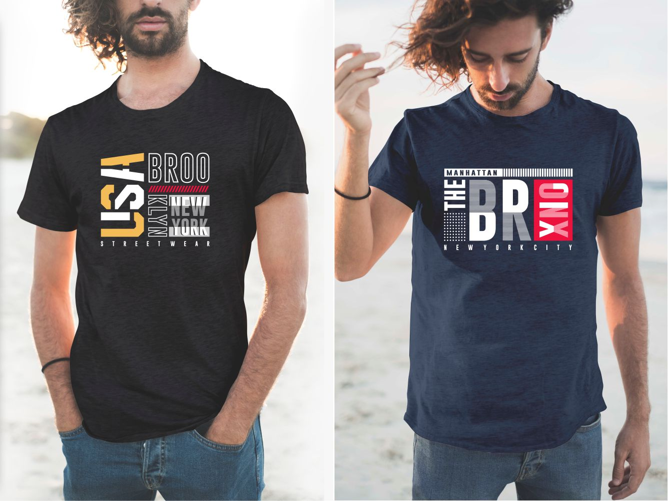 Blue and black T-shirts with various Bronx lettering.