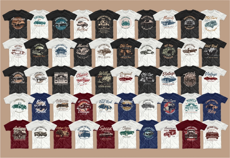 A big collection Classic Car T-shirts.
