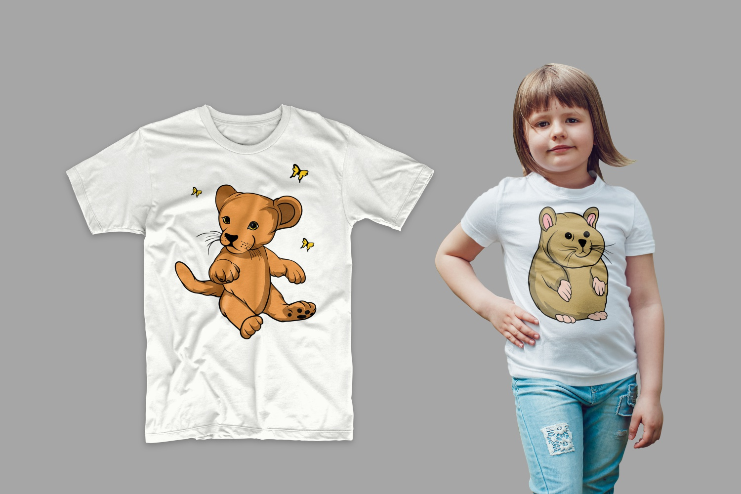 T-shirt with a lion cub on a girl.