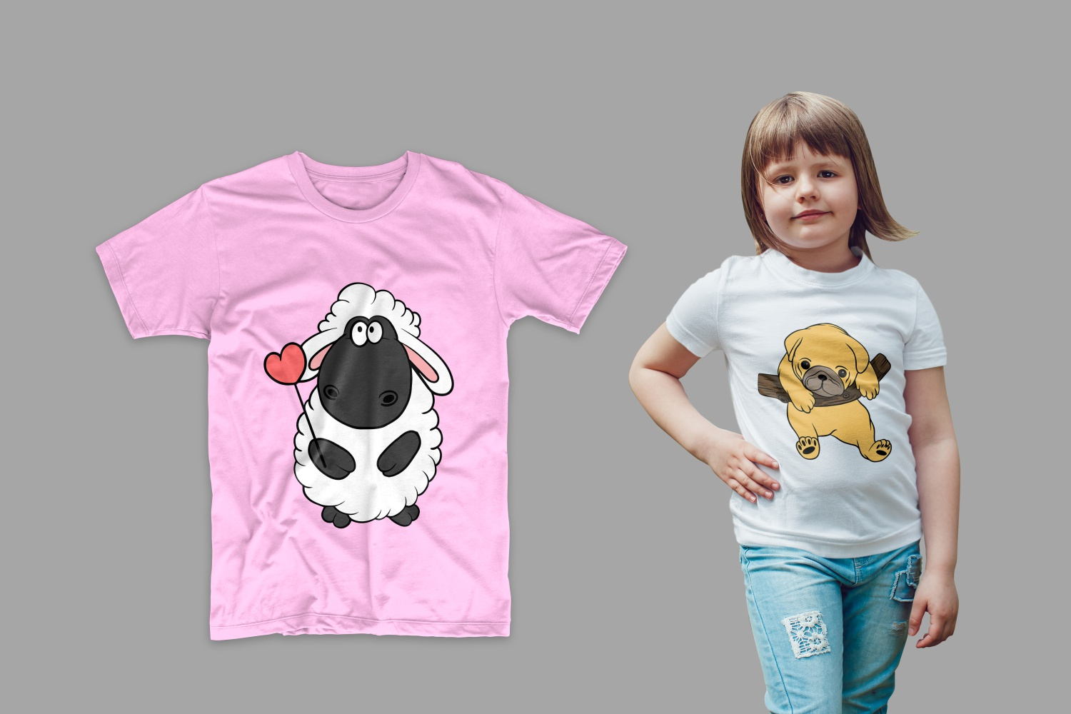 T-shirt with a sheep on the girl.