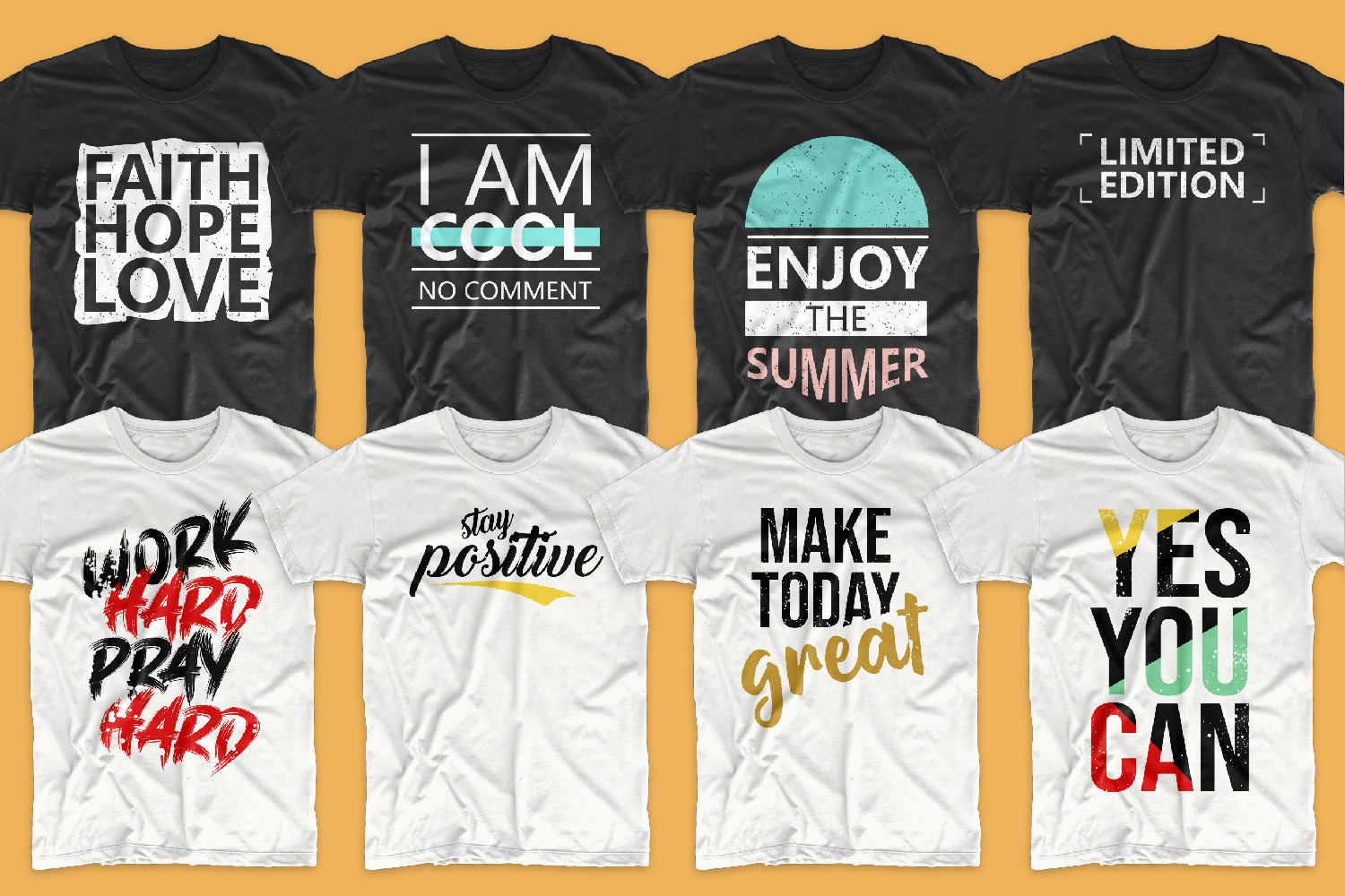 You can diversify white and black T-shirts with an original font, bright elements and motivating phrases, as on these T-shirts.