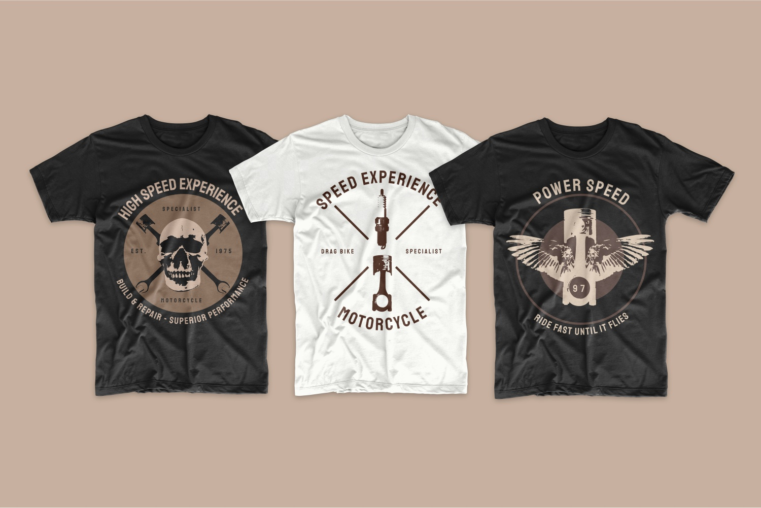 T-shirts with a vintage design and a skull with a machine key.