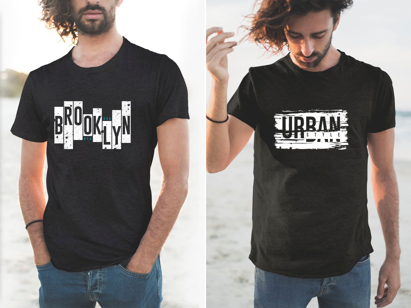 Black T-shirts with the original NYC area name.