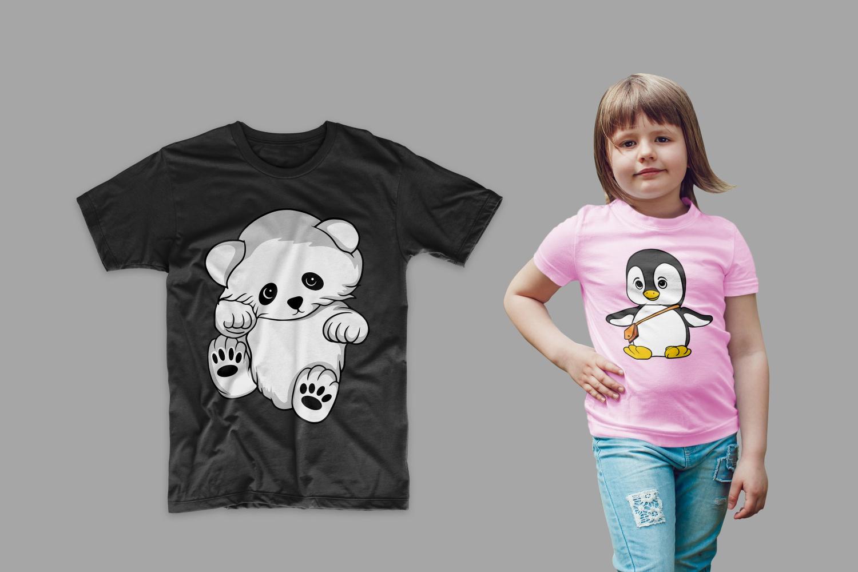 T-shirt with a teddy bear and a penguin on a girl.