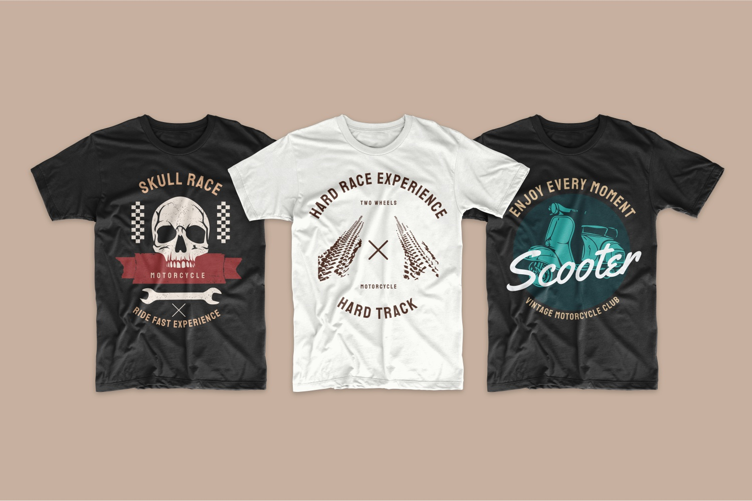 Motorcycle T-Shirts with themed designs.