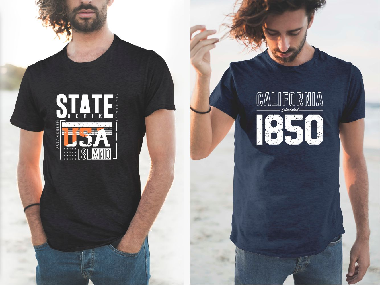 Navy blue and black California State T-shirts.