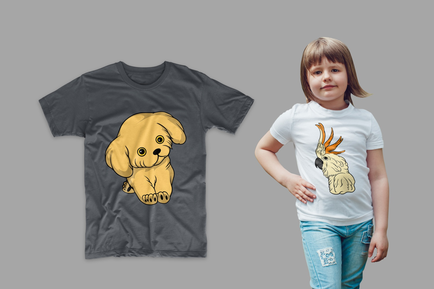 T-shirt with a puppy and a parrot on a girl.