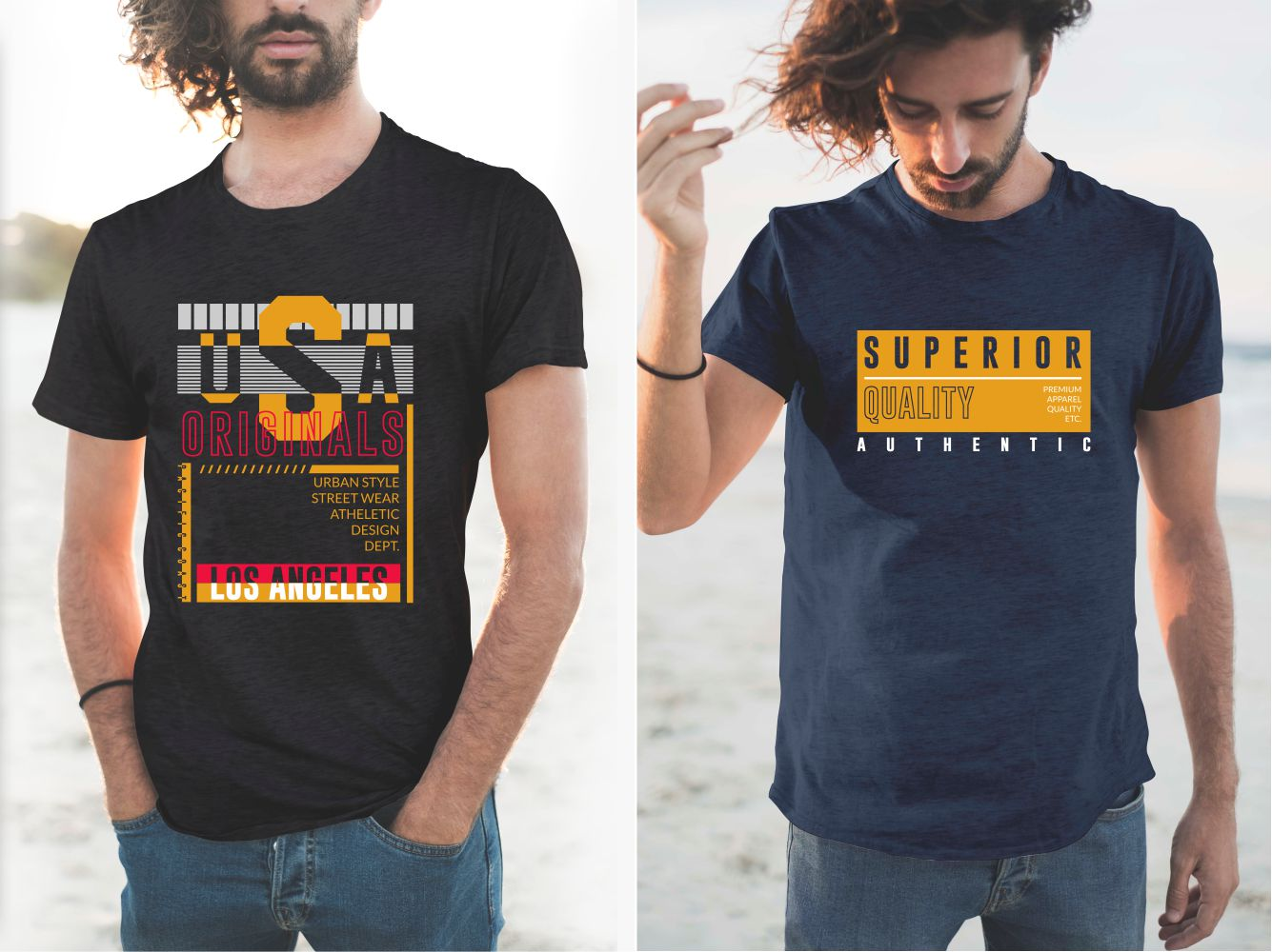 Navy blue and black T-shirts with beautiful yellow USA State lettering.