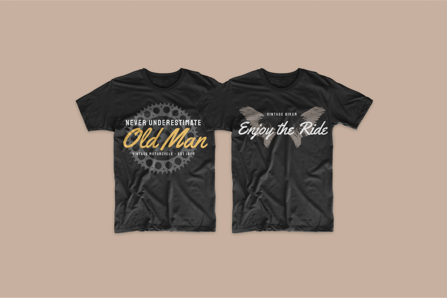 Two black T-shirts in vintage style with the image of the wings.