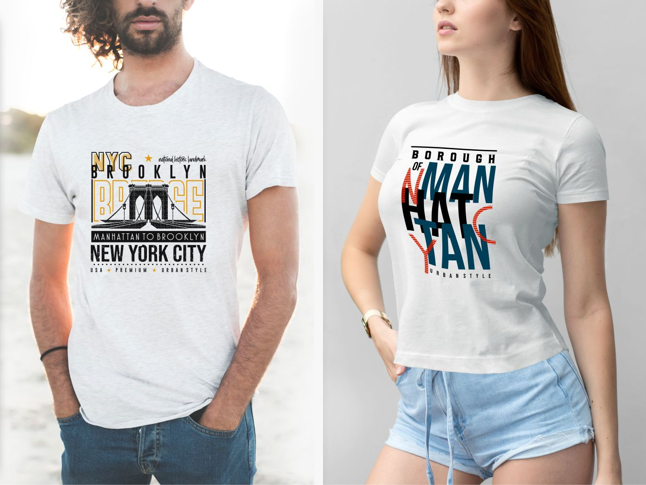Two white T-shirts - mens and womens from New York borough.