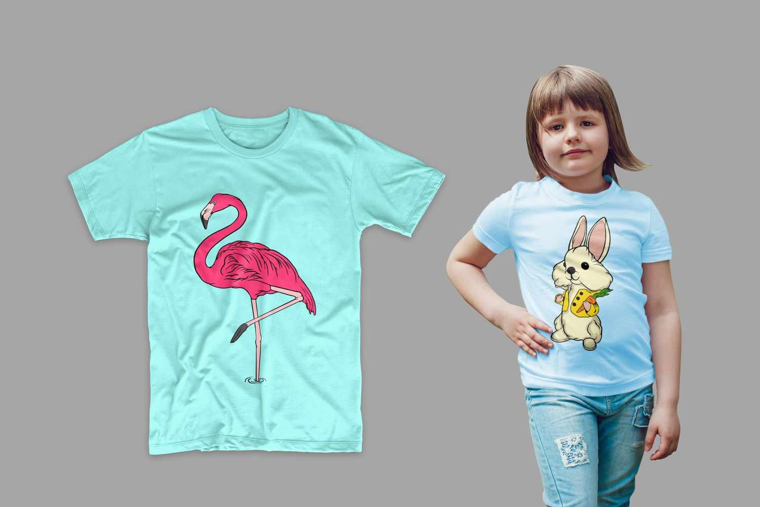 T-shirts with flamingo and rabbit with carrot.