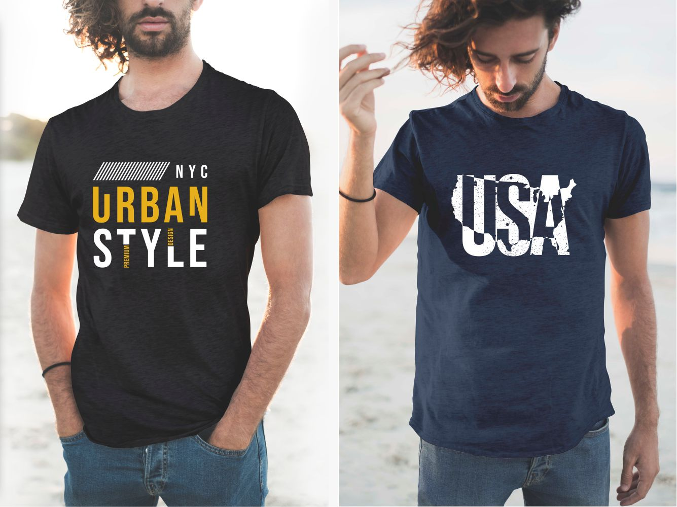 Blue and black men's T-shirts with urban lettering.