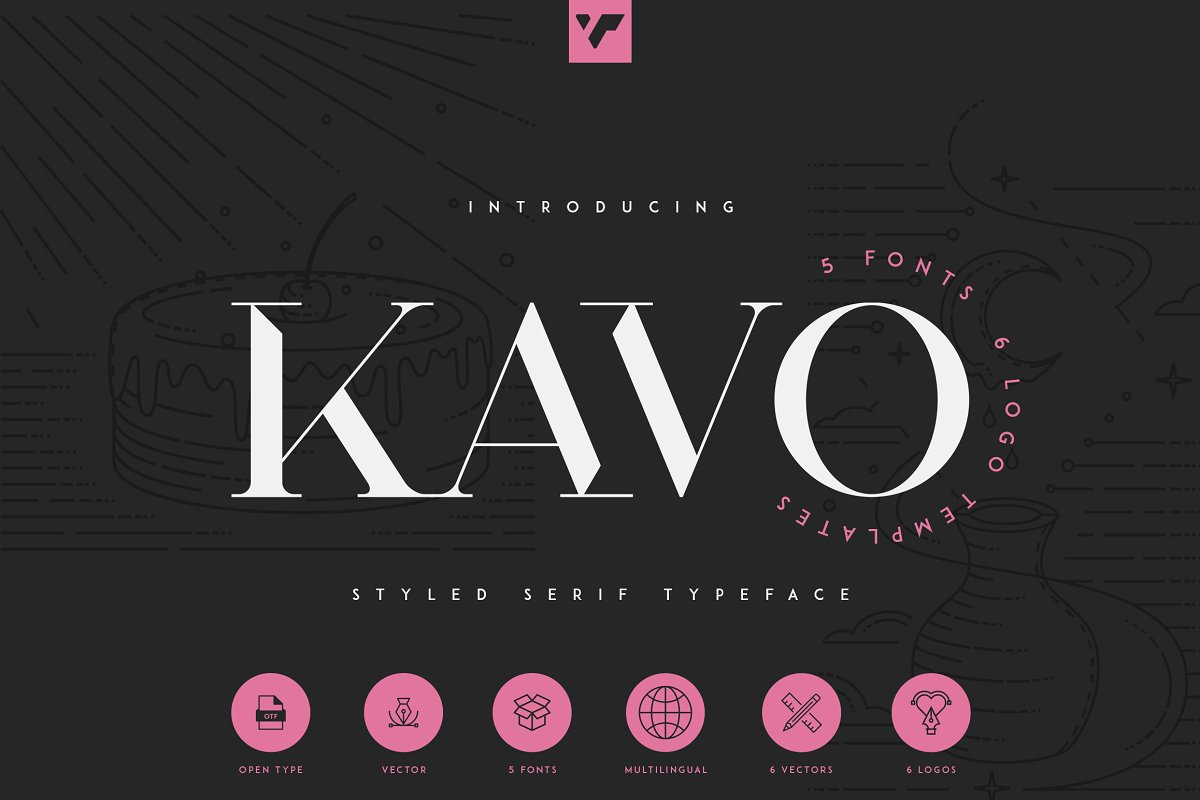 Kavo Styled Serif Typeface Family | 5 fonts - 1a