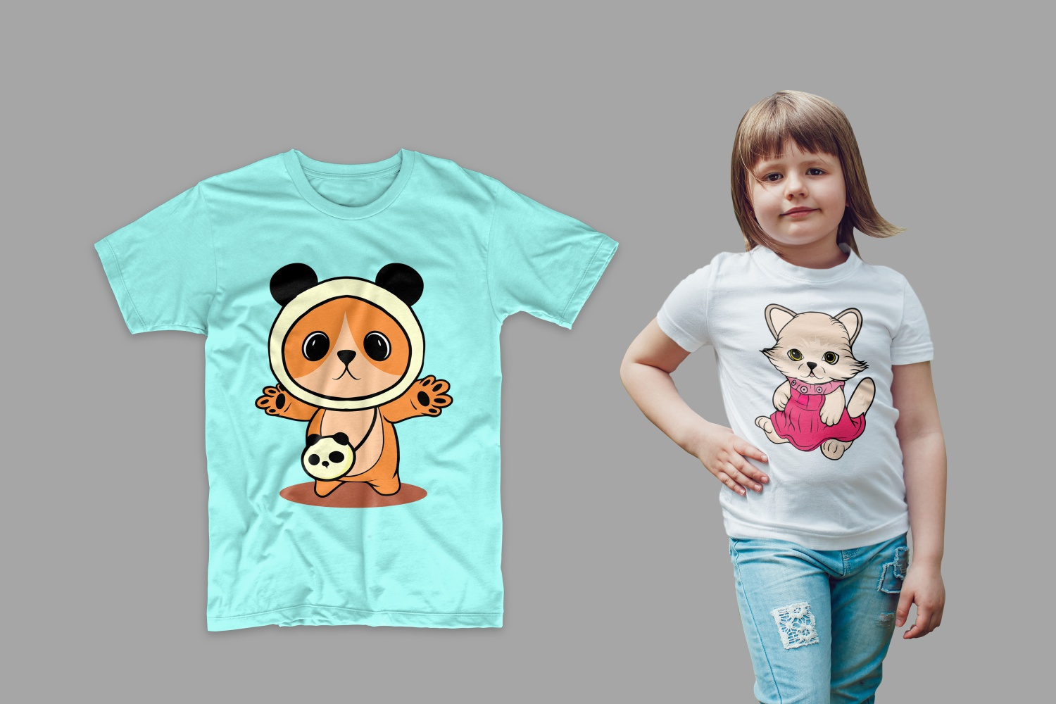 White T-shirt with a penguin and light green with a little panda.